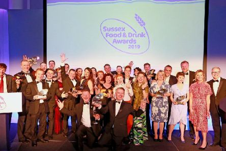 Winners of the Sussex Food & Drink Awards 2019 with Sally Gunnell OBE and awards host, Danny Pike