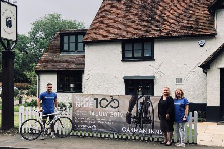 From L-R: Scannaride100 Richard Morrison, Assistant Manager of Beech House Beaconsfield, Alice Chapman of The Polecat Inn and Karen Shardlow of Scannappeal