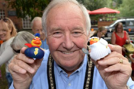 Buckingham mayor Cllr Mark Cole with two of the decorated ducks