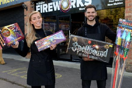 Rebecca and Tom Onslow-Cole, proprietors of the Original Fireworks Warehouse, which is opening today in Buckingham