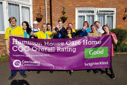 The team at Hamilton House Care Home, Buckingham, celebrate the results of their recent CQC inspection