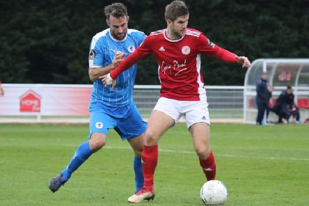 Brackley Town's Jimmy Armson keeps possession against Chester. Photo: Steve Prouse