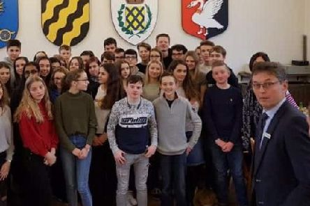 Photo from 2018 showing students from the Royal Latin School and Neukirchen-Vluyn together on an exchange visit