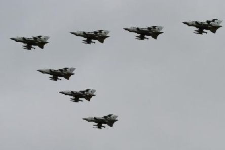 Photo of the RAF Tornado jets during their final flight