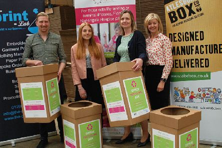 Representatives from the Print Lab and Aylesbury Box Company with the designers of the new boxes