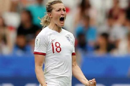 Ellen White celebrates scoring for England in the Women's World Cup against Scotland