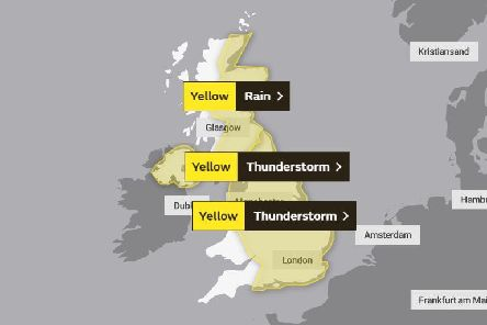 A map showing parts of the country most likely to be affected by severe weather over the next 24 hours