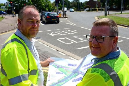 Mark Shaw and Paul Irwin with the proposed layout plan
