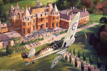 Spitfire over Halton house - reproduced by kind permission of Michael Turner