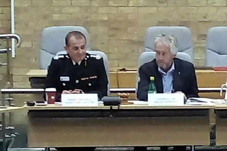 Fire chief Jason Thelwell, left, at Wednesday's meeting