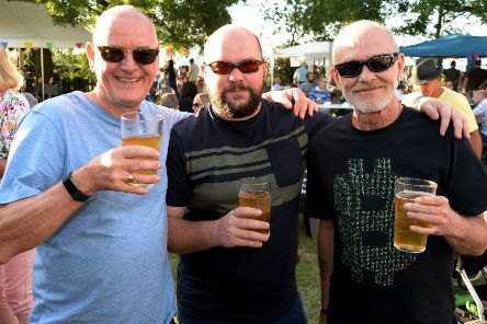 East and Botolph Claydon Beer Festival. Happy beer drinkers.