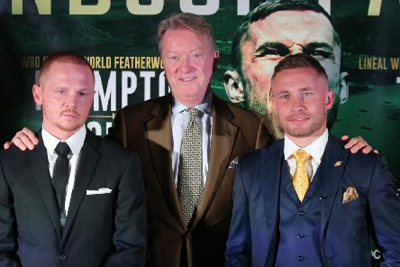 Promoter Frank Warren (centre) with Luke Jackson (left) and Carl Frampton ahead of thier Windsor Park showdown.
