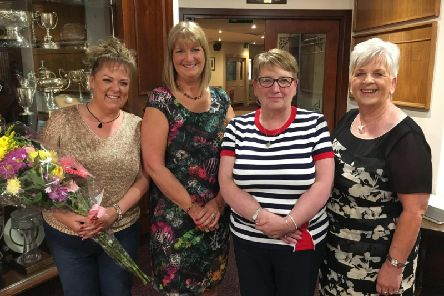 Current PTA chairperson Kerrie McCrory, Downshire School Principal Mrs J Stewart, former chairwomen Joan McAllister and Gwen Robb.