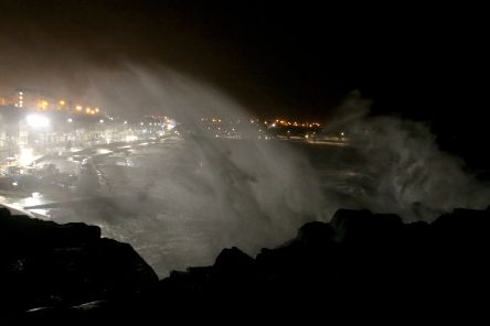 Storm Gareth attacks Portstewart, as the crescent area takes the brunt of it at ten O clock on Tuedsay evening