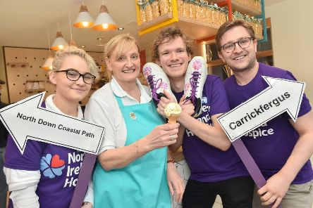 Cerys Louisa Montoya-Sharp, June Cooper and Michael Burney from sponsor Mauds Ice Creams,  with Thomas Wilson, from Northern Ireland Hospice, launch the Carrickfergus Hospice Walk which will take place on Saturday, April 6.