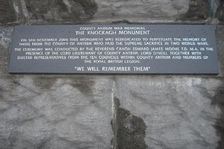 The memorial plaque at Knockagh Monument has been repaired.