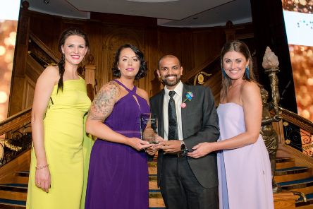 Sensata was the winner of three awards including Best Race Initiative. Pictured are (l-r) Paolina Hawthorne, Managing Director, Diversity NI; Adriana Morvaiova and Lirin Cyriac, from Sensata and Sarah Travers, awards host.