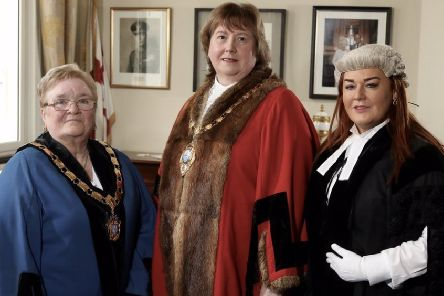 The Mayor of Mid and East Antrim, Cllr Maureen Morrow (centre), with Deputy Mayor, Cllr Beth Adger and Anne Donaghy, council chief executive.