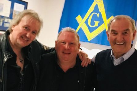 From left to right, Martin Jarvis, music promoter; Steve Strange, Snow Patrol's promoter from Carrickfergus and W. Bro Jim McCord.