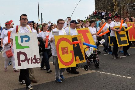 Members of Carrickfergus Senior Gateway Club taking part in the Learning Disability Pride Parade in Carrickfergus in 2017. INCT 22-003-PSB