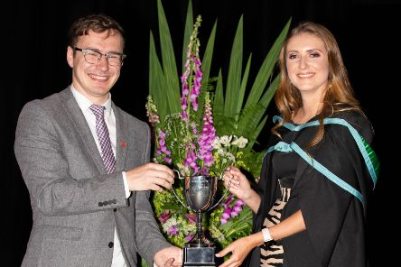 Emma Jefferson received her awards from Adam Leahy, former Stranmillis Students' Union president and Prince's Trust operation manager.