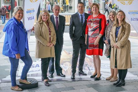 Great British High Street judges with Kathleen McBride,  BID manager Trevor Parker, BRAC manager, the Mayor, Cllr Maureen Morrow and Tracey Campbell, MEA Council.