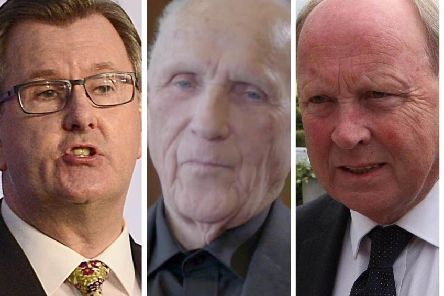 Pictured from left to right DUP MP, Sir Jeffrey Donaldson, former priest and IRA man, Patrick Ryan and TUV leader and MLA Jim Allister.