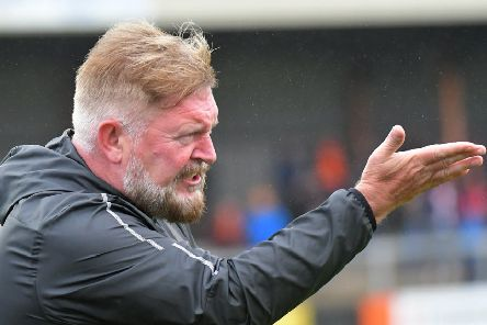 PACEMAKER BELFAST  05/10/2019'Carrick Rangers v Coleraine Danske Bank Premiership'Carrick's Manager Michael Hughes during todays game at Taylors Avenue in Carrick.'Photo Kirth Ferris/Pacemaker Press