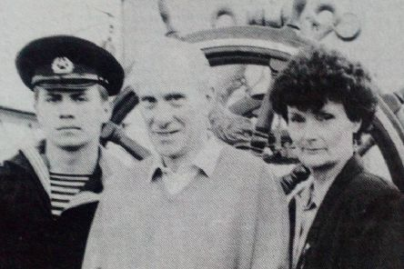 Ernie and Eileen Mills of Prince's Gardens met crew members of the Russian tall Ship the Sedov on its visit to Larne. 1992