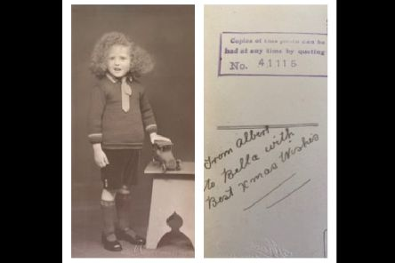 The postcard of the 'Wild Haired Boy' and (right) a message on the reverse.