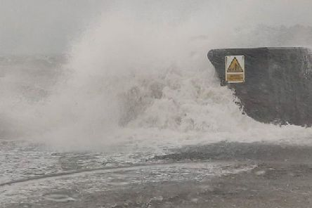 The sea wall at Carrickfergus was breached during the storm.