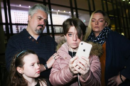 The young star of STRIVE, Neve Hutchinson from Carrickfergus with her stage 'family' Adrian Cooke also from Carrick (who plays her dad Brian), Ava Gallagher from Glengormley (little step sister Delilah) and Kelly Brown (her step mum Maggie) who is from Bangor.
