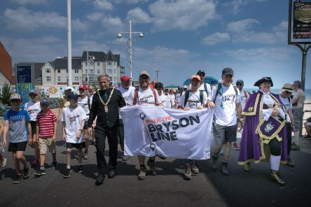 The walkers arrive at Bognor pier
