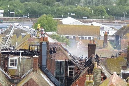 The fire started in the roof of the hotel. Picture: Anthony Kimber