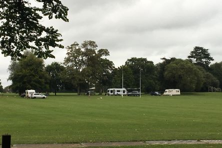 Some of the caravans and cars that moved into the site today