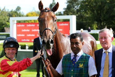 Sir Ron Priestley and connections after their win in the March Stakes on Saturday / Picture: Goodwood Racecourse