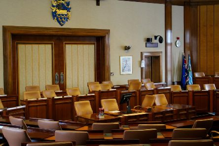 The council chamber at County Hall, Chichester