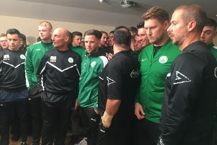 Chi City players and officials wait for the Cup draw