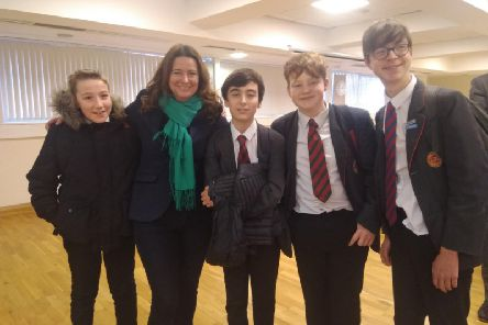Chichester Free School politics club students with Gillian Keegan, Conservative Parliamentary candidate for Chichester