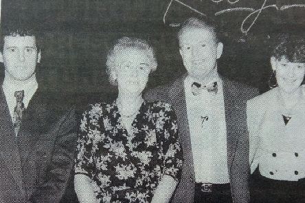 Beth Craig of Portstewart who won Air Canada tickets to Florida seen with Julian  Simmons during a quiz on UTV's Kelly Show in 1993. Also included are daughter and son-in-law Diana and David Boreland.