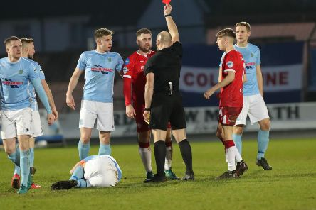 Coleraine player sent-off at Showgrounds