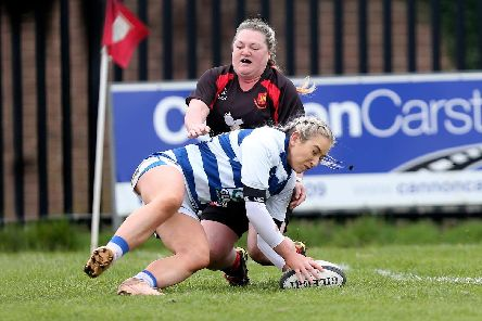 Julie Ann Garvey scores a try for Dungannon as they defeated Carrick 12-5 in the final of the Rejenerate Cup held at Carrick