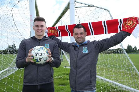 Ballymena Uniteds SuperCupNI graduates Kofi Balmer and Jim Ervin are eyeing up the visit of Manchester Uniteds U-23s for a Showgrounds date with the Sky Blues.