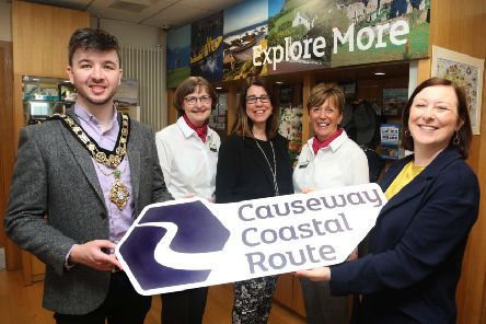 The Mayor of Causeway Coast and Glens Borough Council Councillor Sean Bateson pictured celebrating the recent success of Coleraine and Ballycastle Visitor Information Centres with Mary Dunlop from Coleraine VIC, Caroline Carey, Visitor Servicing Officer, Causeway Coast and Glens Borough Council, Harriet Hamilton from Ballycastle VIC and Brenda Murphy from Tourism NI.
