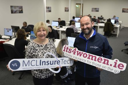 Pictured are Jean Hellewell, Managing Director, MCL Insurance Services (Ireland) Ltd and Gary McClarty, Managing Director of MCL InsureTech