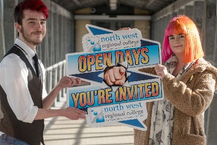 Media student Josh Kuzma and Hairdressing student Molly Hazlett look ahead to NWRC's Open Days at North West Regional College.