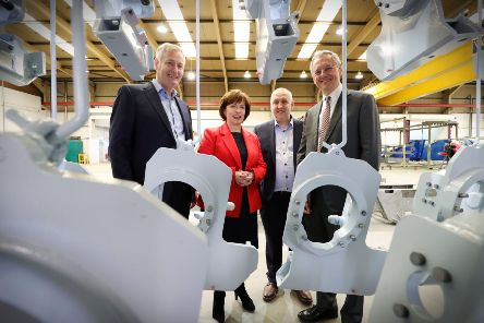 Making the announcement is Adrian and Eugene Dixon, Directors of Maine Surface Finishing, Minister for the Economy Diane Dodds and Kevin Holland, CEO of Invest NI
