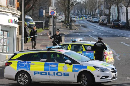 Police sealed off the scene of the stabbing in Brighton on Sunday