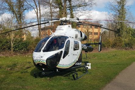 Air Ambulance at the scene. Photo by Crawley Police