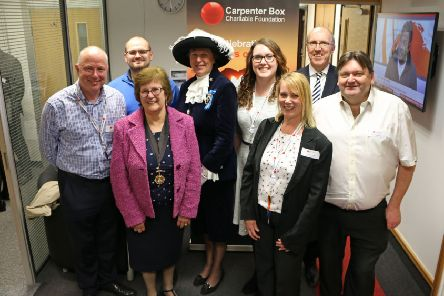 Hazel Thorpe, Deputy Mayor of Worthing (front left) and Caroline Nicholls DL, High Sheriff of West Sussex (back row, 3rd from left) with some of the Carpenter Box Charitable Foundation staff trustees